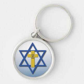 Ich stehe mit christlichem und jüdischem Israel Schlüsselanhänger