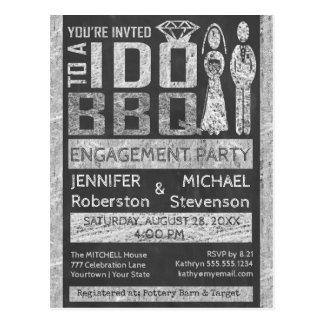 Ich tue   GRILLEN   Verlobungs-Party Postkarte