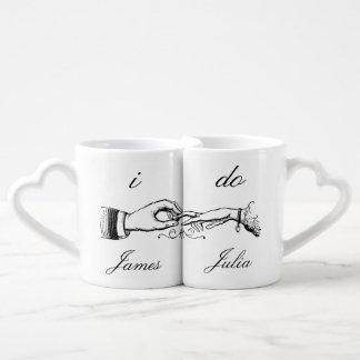 Ich tue Vintages Hochzeits-Ring-Tassen-Set Herztassen