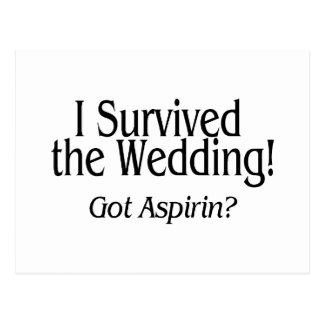 Ich überlebte die Hochzeit, die Aspirin erhalten Postkarte
