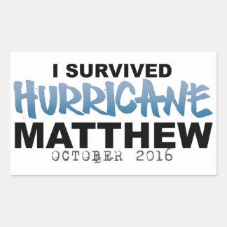Ich überlebte Hurrikan Matthew im Oktober 2016 Rechteckiger Aufkleber