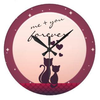 Ich und Sie für immer romantische Katzen in der Große Wanduhr