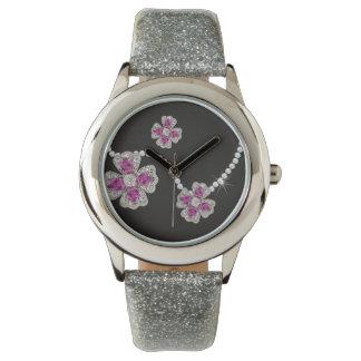 Ich will, um Diamant-Blumen-Mädchen-Party-Uhr zu Armbanduhr
