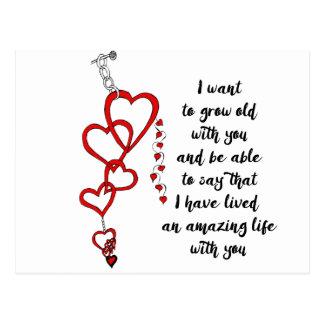 Ich will, um mit Ihnen alt zu wachsen Postkarte