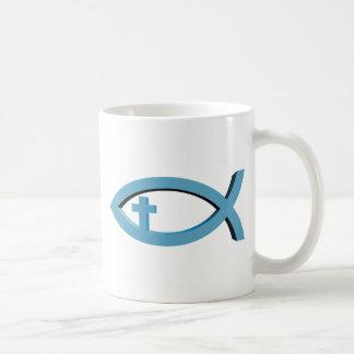 Ichthus - christliches Fisch-Symbol mit Kruzifix Kaffeetasse
