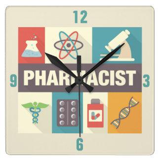 Iconique professionnel de pharmacien conçu horloge carrée