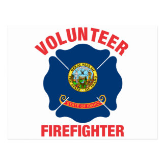 Idaho-Flaggen-Freiwillig-Feuerwehrmann-Kreuz Postkarte
