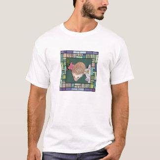 Igel im Artrahmen des befleckten Glases T-Shirt