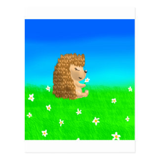 Igel mit Blume Postkarte