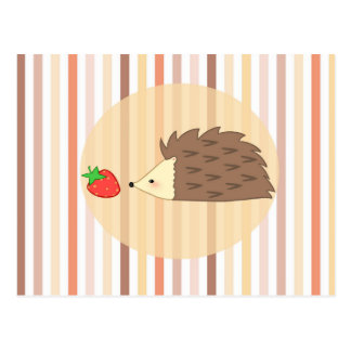 Igel und Erdbeere Postkarte