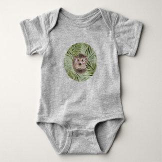 Igels- und Grün-Blätter Baby Strampler