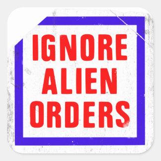 Ignorieren Sie alien-Aufträge. Joe Strummers Quadratischer Aufkleber