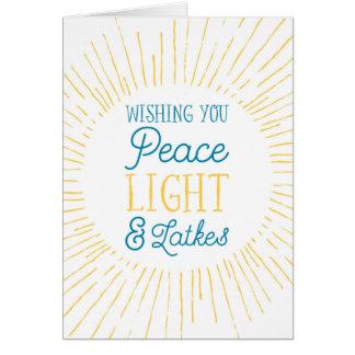 Ihnen Friedens-, Licht-und Latkes-Chanukka-Karte Karte