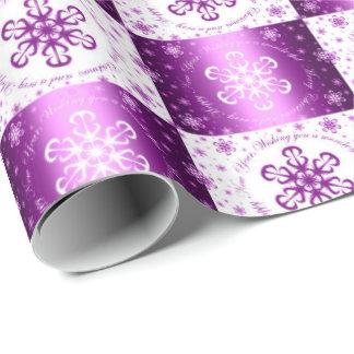 """""""Ihnen frohen Weihnachten wünschend"""" lila u. weiß Geschenkpapier"""