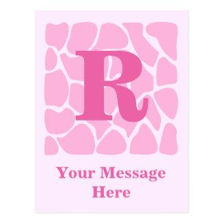 Ihr Buchstabe-Monogramm. Gewohnheit. Rosa Postkarte