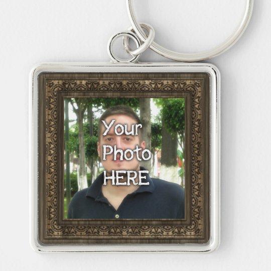 Ihr Foto-hier hölzerner (Druck) Rahmen Silberfarbener Quadratischer Schlüsselanhänger
