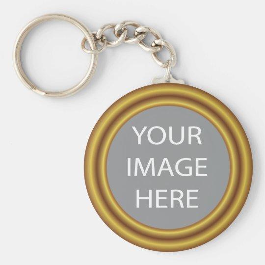 Ihr Foto im eleganten Goldrahmen Standard Runder Schlüsselanhänger