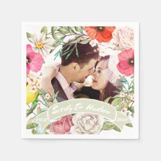 Ihr Foto-rosaroter gelber Rosen-HochzeitWreath Serviette