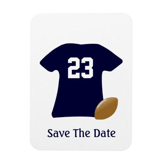 Ihr Fußball-Shirt mit Ball-Save the Date Magneten Recchteckiger Magnet