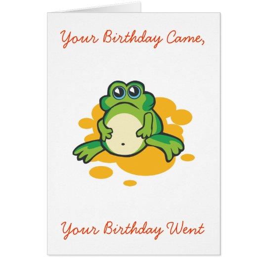 Ihr Geburtstag kam, Ihr Geburtstag ging Karte