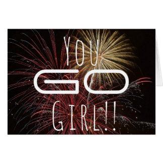 Ihr gehen Mädchen! Feuerwerks-Glückwunsch-Karte Karte