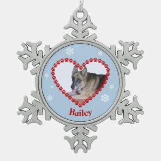 Ihr Haustier-Fototatzendruck-Herz-individueller Schneeflocken Zinn-Ornament