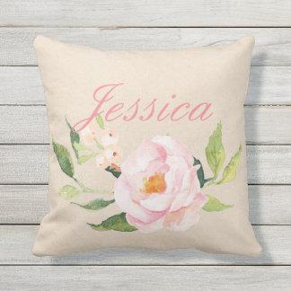 Ihr kundenspezifisches Name| rosa Blumen Kissen Für Draußen