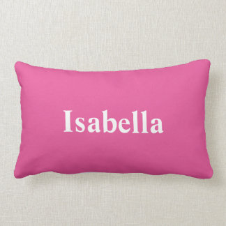 Ihr Name auf einem hellen rosa Kissen
