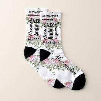 Ihr Name oder Zitat-rosa grünes Rosen-Muster Socken