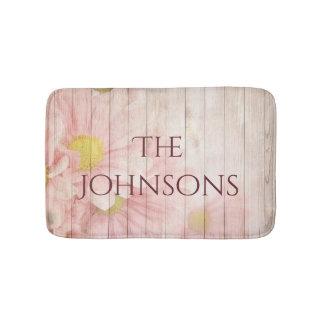 Ihr personalisiertes romantisches rosa Blumen Badematte