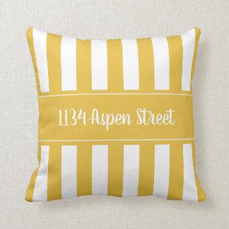 Ihr Zuhause-Straßen-Senfgestreiftes Throw-Kissen Kissen