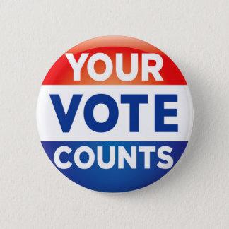 Ihre Abstimmung zählt Muster Runder Button 5,1 Cm