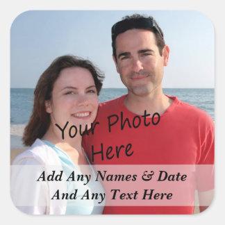 Ihre eigenen Foto-und Gewohnheits-Text-Aufkleber Quadrat-Aufkleber