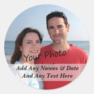 Ihre eigenen Foto-und Gewohnheits-Text-Aufkleber Runder Aufkleber