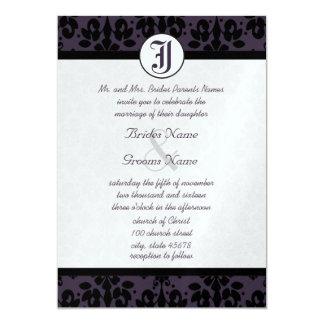 Ihre Foto-Aubergine u. schwarze Damast-Hochzeit 12,7 X 17,8 Cm Einladungskarte