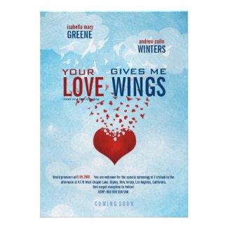 Ihre Liebe gibt mir Flügel - Film-Plakat-Hochzeit Einladungen