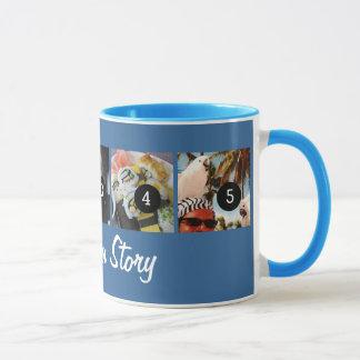 Ihre Selbst sagen Ihrer Foto-Geschichte 5 blauen Tasse