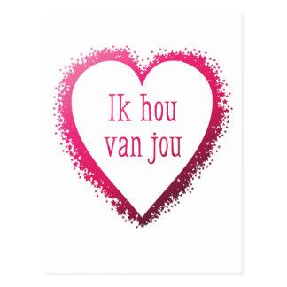 Ik Hou van Jou, i-Liebe Sie auf Holländer im Rosa Postkarte