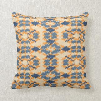Ikat Muster-Blau und Melone Kissen