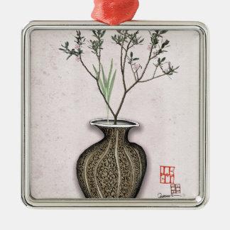 Ikebana 4 durch tony fernandes quadratisches silberfarbenes ornament