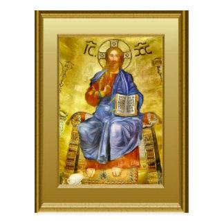 Ikon von Christus mit einem Evangeliumbuch, Postkarte