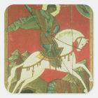 Ikone von St George und von Drachen Quadratischer Aufkleber