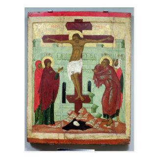 Ikone, welche die Kreuzigung mit der Jungfrau Postkarte
