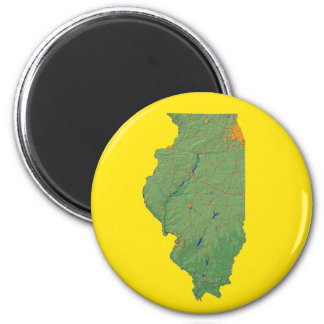 Illinois-Karten-Magnet Runder Magnet 5,7 Cm