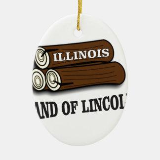 Illinois-Klotz von Lincoln Keramik Ornament
