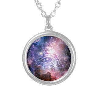 Illuminati Nebelfleck Halskette Mit Rundem Anhänger