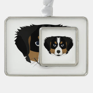 Illustration Bernese Gebirgshund Rahmen-Ornament Silber