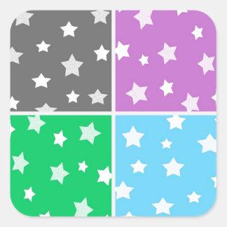 Illustration colorée de profil sous convention stickers carrés