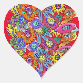Illustration de bande dessinée des fleurs, sticker cœur