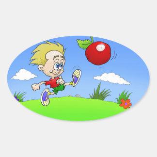 Illustration de bande dessinée d'un garçon donnant sticker ovale